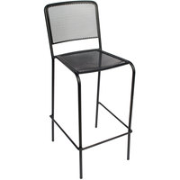 BFM Seating SU1300BBL Chesapeake Outdoor / Indoor Stackable Black Steel Bar Height Chair