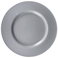 The Jay Companies 13 inch Round Reflex Silver Glass Charger Plate