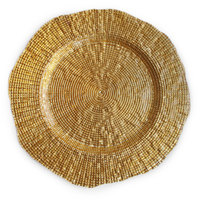 The Jay Companies 13 inch Round Infinity Gold Glass Charger Plate