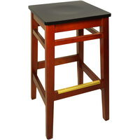 BFM Seating LWB680CHBLW Trevor Cherry Wood Barstool with Black Wood Seat