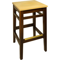BFM Seating LWB680WANTW Trevor Walnut Wood Barstool with Natural Wood Seat