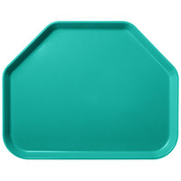Carlisle 2214FG051 Customizable 14 inch x 22 inch Glasteel Teal Trapezoid Fiberglass Tray - 12/Case