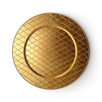 The Jay Companies 13 inch Round Plaid Gold Acrylic Charger Plate