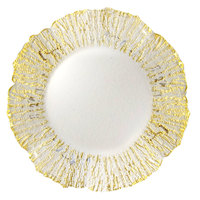 The Jay Companies 13 inch Round Deniz Flower Gold Glass Charger Plate