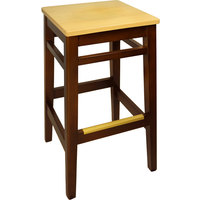 BFM Seating LWB680MHNTW Trevor Mahogany Wood Barstool with Natural Wood Seat