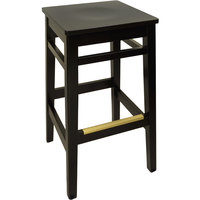 BFM Seating LWB680BLBLW Trevor Black Wood Barstool with Black Wood Seat