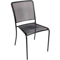 BFM Seating SU1300CBL Chesapeake Outdoor / Indoor Stackable Black Steel Side Chair
