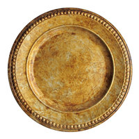 The Jay Companies 14 inch Round Beaded Gold Acrylic Charger Plate