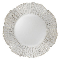 The Jay Companies 1470335 13 inch Round Deniz Flower Silver Glass Charger Plate