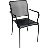 BFM Seating SU1301CBL Chesapeake Outdoor / Indoor Stackable Black Steel Arm Chair