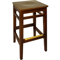 BFM Seating LWB680MHWAW Trevor Mahogany Wood Barstool with Walnut Wood Seat