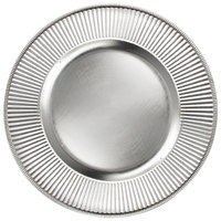 The Jay Companies 13 inch Round Sunray Silver Acrylic Charger Plate