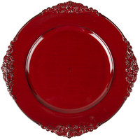 The Jay Companies 1180256 13 inch Round Royal Red Plastic Charger Plate