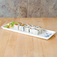 Thunder Group 0900BB Blue Bamboo 13 1/2 inch x 4 1/2 inch Melamine Sandwich Tray - 12/Pack