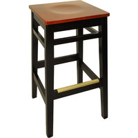 BFM Seating LWB680BLCHW Trevor Black Wood Barstool with Cherry Wood Seat