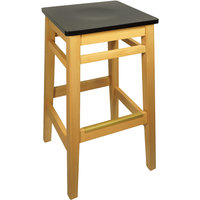 BFM Seating LWB680NTBLW Trevor Natural Wood Barstool with Black Wood Seat