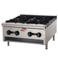 Wells HDHP-2430G Heavy Duty 24 inch Four Burner Gas Countertop Hot Plate - 86,000 BTU