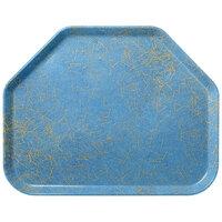 Carlisle 2214DFG029 Customizable14 inch x 22 inch Glasteel Starfire Blue Trapezoid Fiberglass Tray - 12/Case
