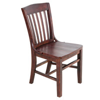 Lancaster Table &amp&#x3b; Seating Mahogany Finish Wooden School House Chair