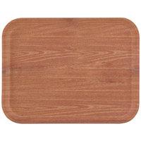 "Carlisle 1612WFG063 Customizable 12"" x 16"" Glasteel Woodgrain Pecan Fiberglass Tray - 12/Case"