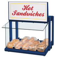 Hatco GRHW-1SGS Glo-Ray Navy Blue Slanted Mini-Merchandising Warmer with Sign and Toggle Controls - 820W