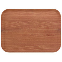 Carlisle 1814WFG063 Customizable 14 inch x 18 inch Glasteel Wood Grain Pecan Fiberglass Tray - 12/Case