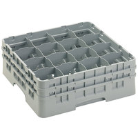 Cambro 16S534151 Camrack 6 1/8 inch High Customizable Soft Gray 16 Compartment Glass Rack