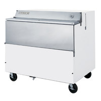 Beverage-Air SMF49Y-1-W-02 49 inch White 1-Sided Forced Air Milk Cooler with Stainless Steel Interior