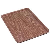 Carlisle 1410WFG063 Customizable 10 inch x 14 inch Glasteel Wood Grain Pecan Fiberglass Tray - 12/Case