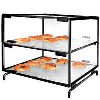Cal-Mil PC200-13 Two Tier Black Pastry Display Case - 16 inch x 16 inch x 20 inch