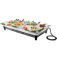 Cal-Mil IP202-13 Original Large Black Ice Housing System with Ice Pan, Drainage Hose, and LED Lighting - 24 inch x 48 inch x 8 inch