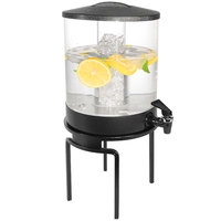 Cal-Mil JC302-13 1.5 Gallon Acrylic Beverage Dispenser with Ice Chamber and Black Strata Metal Stand