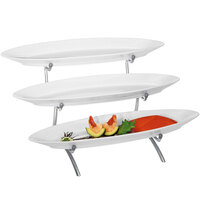 Cal-Mil PP2200-39 Prestige Platinum Three Tier Wire Stand Display with Porcelain Platters - 23 inch x 13 inch x 10 inch