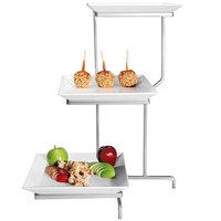 Cal-Mil PP2301-39 Prestige Platinum Three Tier Incline Display with Square Porcelain Plates - 16 inch x 26 inch x 22 inch