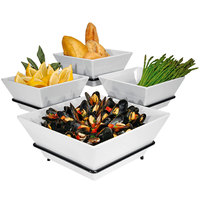 Cal-Mil SR1010-13 Black Organizer Display with Four Square Melamine Bowls - 19 inch x 19 inch x 11 inch