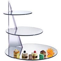 Cal-Mil MT220 21 inch x 19 1/2 inch 3 Tier Offset Circle Mirror Display Riser