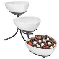 Cal-Mil SR402-13 Black Three Tier Incline Display with Triangle Melamine Bowls - 12 inch x 24 inch x 14 inch