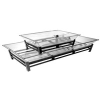 Cal-Mil IP402-13 Two Tier Black Metal Ice Housing System with Ice Pan, Drainage Hose, and LED Lighting - 24 inch x 48 inch x 12 1/2 inch