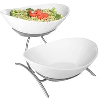 Cal-Mil PP2100-39 Prestige Platinum 2 Tier Wire Stand with Oval Porcelain Bowls - 16 inch x 8 inch x 12 inch