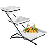 Cal-Mil PP203-13 Prestige Black Three Tier Wire Stand with One Square Porcelain Platter and Two Square Porcelain Bowls - 14 inch x 15 inch x 15 inch