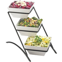 Cal-Mil SR307-13 Black Three Tier Display with Square Melamine Bowls - 10 1/2 inch x 16 inch x 14 inch