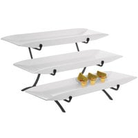Cal-Mil SR1033-13 Black Three Tier Metal Incline Stand with Melamine Platters - 18 inch x 23 inch x 12 inch