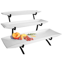 Cal-Mil PP103-13 Prestige Black Three Tier Wire Riser with Porcelain Platters - 12 inch x 22 inch x 12 inch