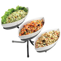 Cal-Mil SR304-13 Black Three Tier Display with Canoe Melamine Bowls - 16 1/2 inch x 18 1/2 inch x 10 1/2 inch