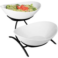 Cal-Mil PP2100-13 Prestige Black Two Tier Wire Stand with Oval Porcelain Bowls - 16 inch x 8 inch x 12 inch