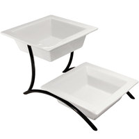 Cal-Mil PP302-13 Prestige Black Two Tier Curved Metal Display with Porcelain Bowls - 10 inch x 17 inch x 9 inch