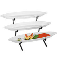 Cal-Mil PP2200-13 Prestige Black Three Tier Wire Stand Display with Porcelain Platters - 23 inch x 13 inch x 10 inch
