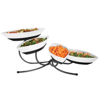 Cal-Mil SR302-13 Black Angled Tier Stand with Four Canoe Melamine Bowls - 17 inch x 32 inch x 12 inch