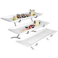 Cal-Mil PP1033-39 Prestige Platinum Wide Frame Three Tier Wire Stand with Porcelain Platters - 23 inch x 18 inch x 12 inch