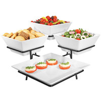 Cal-Mil SR1020-13 Black Organizer Display with One Square Melamine Platter and Three Square Melamine Bowls - 19 1/2 inch x 19 1/2 inch x 11 inch